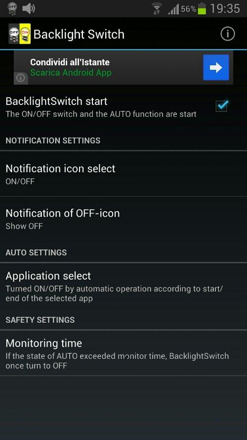 Retroilluminazione dello smartphone: Backlight Switch - Pareri e Pensieri